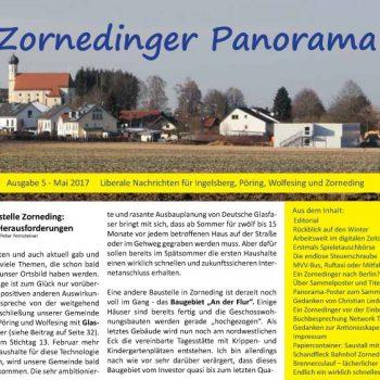 """Vorschaubild zur neuesten Ausgabe der FDP-Ortszeitung """"Zornedinger Panorama"""", die man auf der Homepage von Peter Pernsteiner unter folgendem Link als PDF-Datei herunter laden kann:  https://peter-pernsteiner.de/zorneding/20170506-zornedinger-panorama-nr-5-ist-erschienen/"""