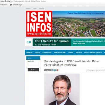 In den Isen Infos ist jetzt ein Interview mit unserem FDP-Direktkandidaten Peter Pernsteiner erschienen: http://www.iseninfos.de/bundestagswahl-fdp-direktkandidat-peter/ (Screenshot mit freundlicher Genehmigung der Redaktion von Isen Infos)