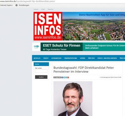 In den Isen Infos ist jetzt ein Interview mit unserem FDP-Direktkandidaten Peter Pernsteiner erschienen: https://www.iseninfos.de/bundestagswahl-fdp-direktkandidat-peter/ (Screenshot mit freundlicher Genehmigung der Redaktion von Isen Infos)