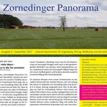 """Die neue Ausgabe der FDP-Ortszeitung """"Zornedinger Panorama"""" vom September 2017 wurde gedruckt an die Haushalte von Zorneding, Ingelsberg, Pöring und Wolfesing verteilt und enthält diesmal viele interessante Beispiele zum Thema """"Denken wir neu"""""""