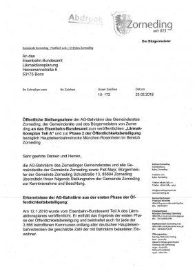 Stellungnahme der Zornedinger Gemeinderäte an das Eisenbahn-Bundesamt - Seite 1