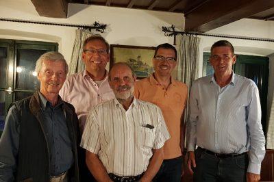 v.l.n.r. Herbert Diekmann ( Schatzmeister), Alois Thurnhuber (Schriftführer), Bernhard Gar (Vorsitzender), Claus Eimer (stellv. Vorsitzender) und Alexander Müller(Kreisvorsitzender)