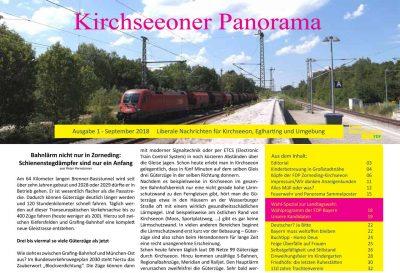 Vorschaubild auf die erste Ausgabe des Kirchseeoner Panorama, das im September 2018 auch in gedruckter Form in einer Auflage von 4000 Exemplaren erschienen ist. (Das Titelfoto von Peter Pernsteiner wurde am Kirchseeoner Bahnhof aufgenommen)