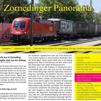 Vorschaubild auf die siebte Ausgabe des Zornedinger Panorama, das im September 2018 auch in gedruckter Form in einer Auflage von 5000 Exemplaren erschienen ist. (Das Titelfoto von Peter Pernsteiner wurde am Zornedinger Bahnhof aufgenommen)