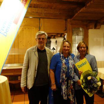 Renate Will mit Sabine Leutheusser-Schnarrenberger und Klaus Willenberg, Ortsvorsitzender Vaterstetten